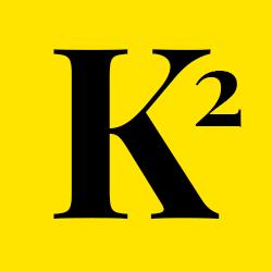 gelbes Rundes Logo mit einem grossen K - das Logo von Karin's Kosmos.