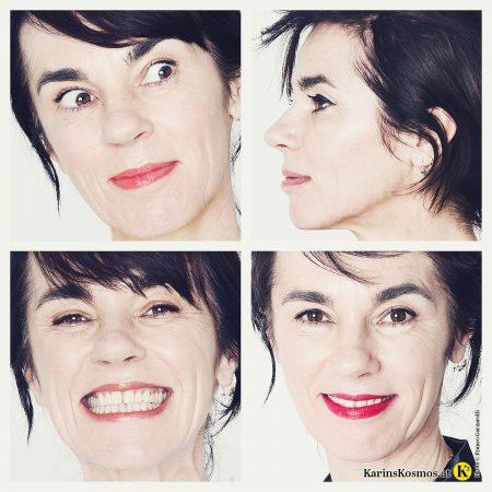 Vier Portraits von einer Frau mit vier verschiedenen Gesichtsausdrücken: skeptisch, lächelnd, lachend und freundlich schauend. Sie hat keine Zornesfalte dank Botox.