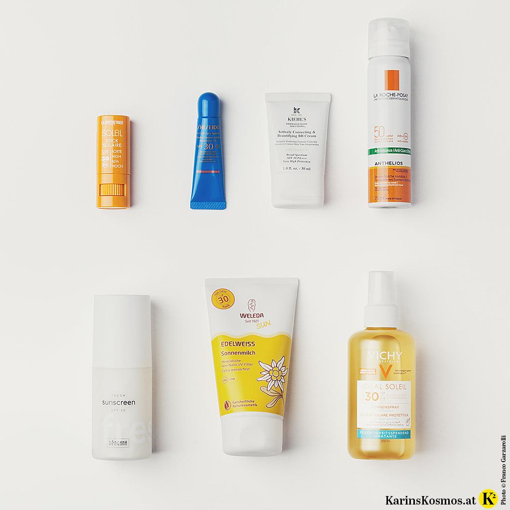 Produktfoto mit Sonnenschutz für den Sommerurlaub.