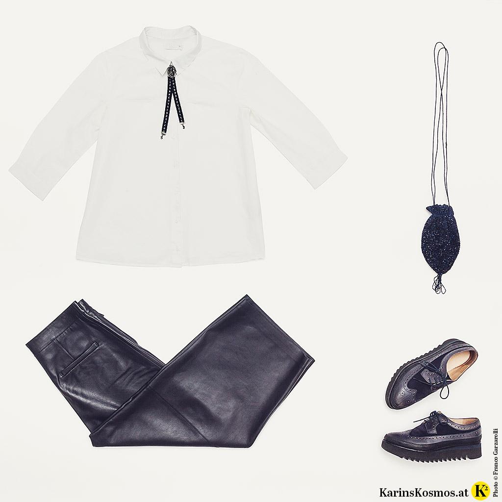 Produktfoto für Tracht anders getragen bestehend aus Lederhose, weißer Bluse, Trachten-Schieber, Perlenbeutel und Schnür-Schuhen.
