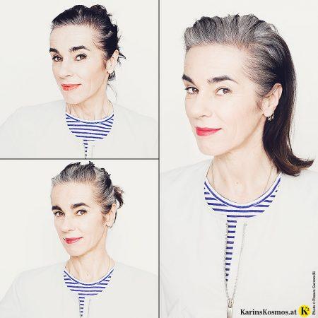 Foto einer Frau, Karin Garzarolli, die sich ihr graues Haar rauswachsen lässt.