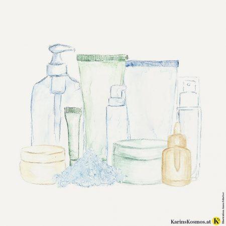 Illustration mit Pflegeprodukten für die Haut.