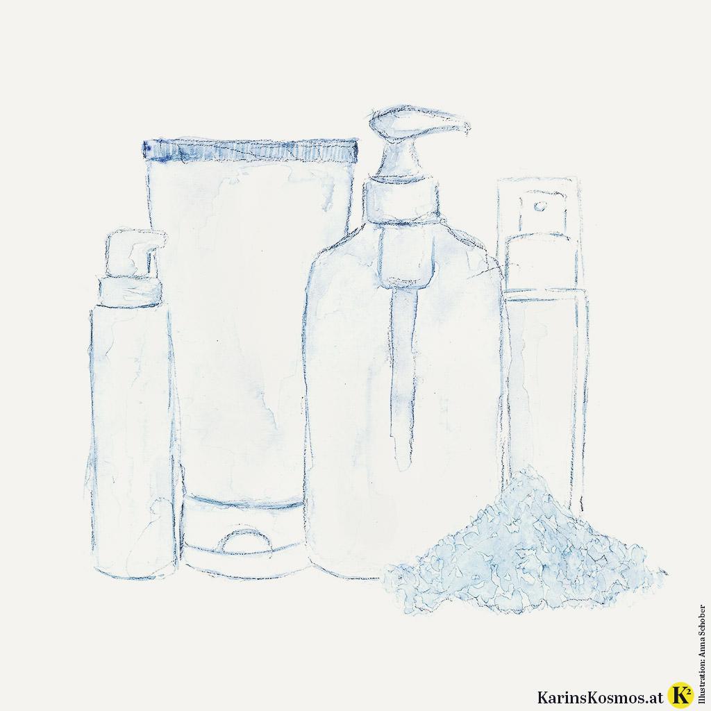 Illustration mit Pflegeprodukten gegen unreine Haut.