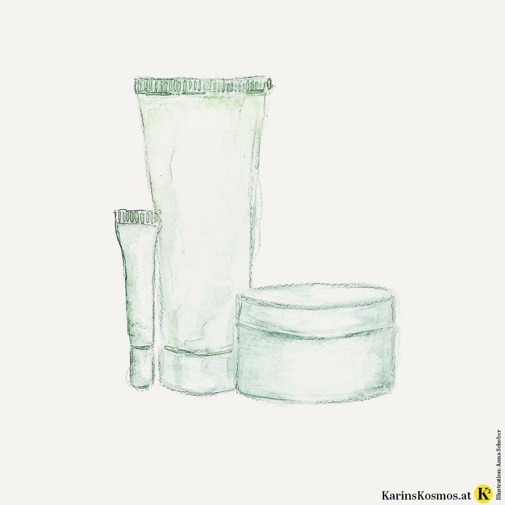 Illustration von Pflegeprodukten gegen nervöse Haut.