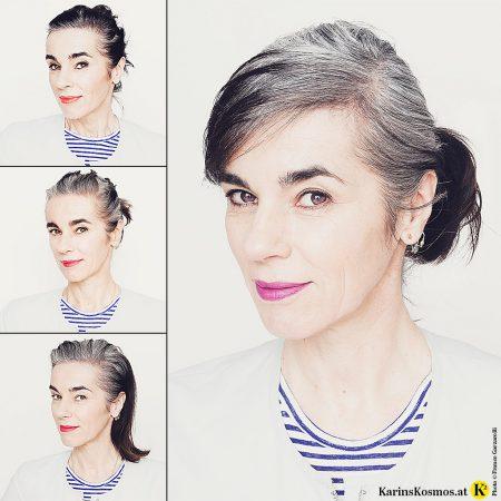 Vier Stadien einer Frau, die sich ihr graues Haar wachsen lässt.