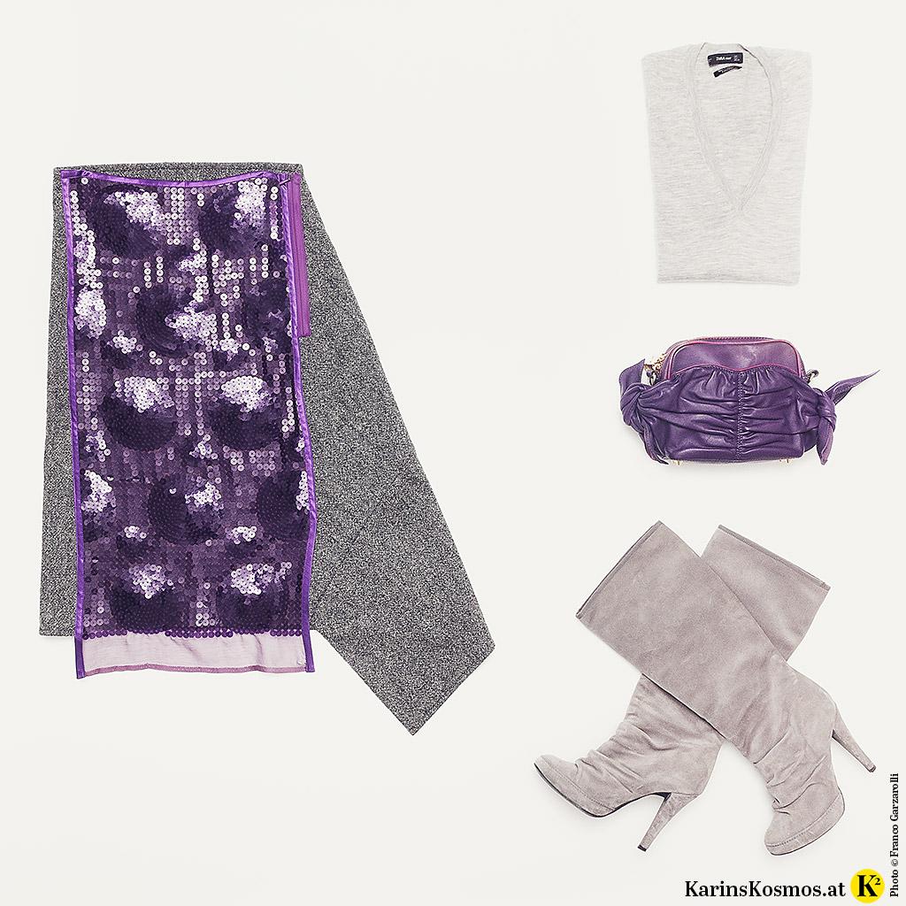 Produktfoto mit Rock und Tasche in Ultraviolett, Stiefel und Pulli sind grau.