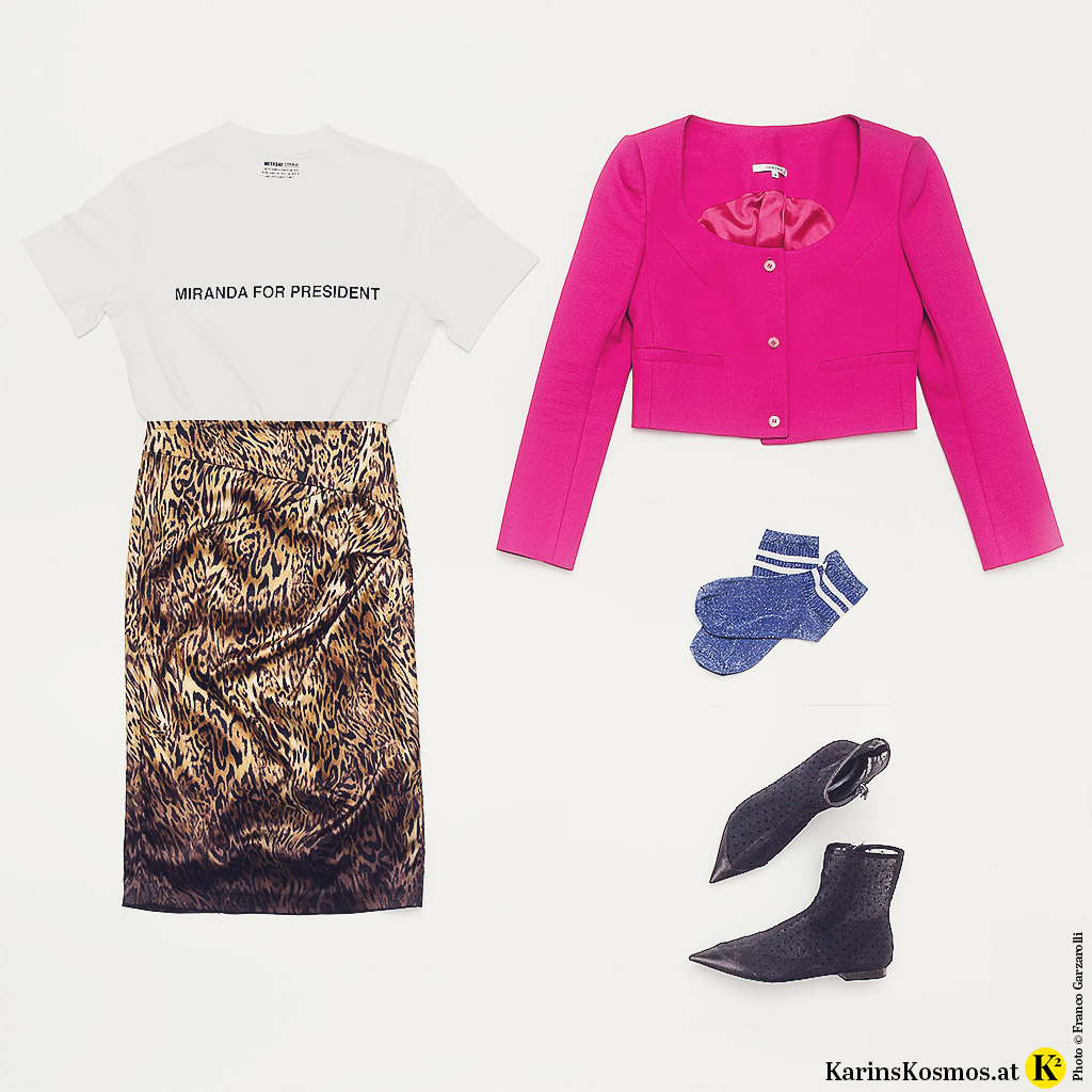 Produktfoto von Rock, T-Shirt, Blazer, Socken und Stiefletten im wilden Mustermix.