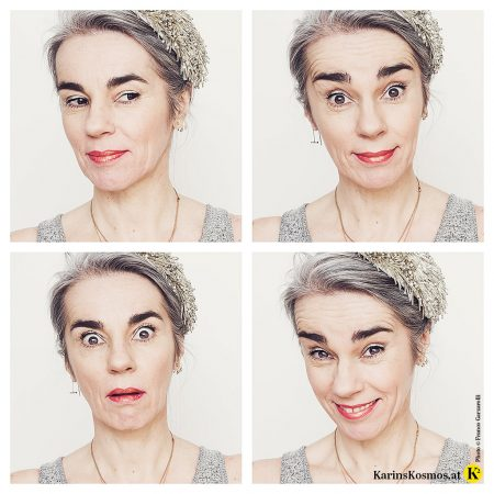Frau mit vier verschiedenen Gesichtsausdrücken, aber jedes Mal mit Metallic-Eyes in Form eines silbernen Eyeliners.