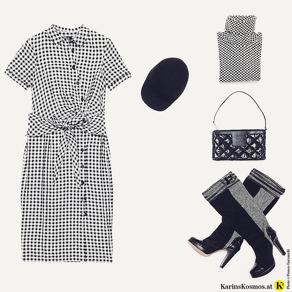 Produktfoto von Sommerkleid mit Accessoires in Schwarz-Weiß.