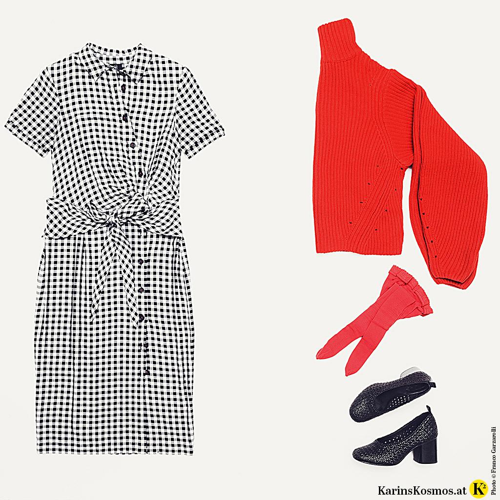 Produktfoto von Sommerkleid mit Strickpulli in Rot.